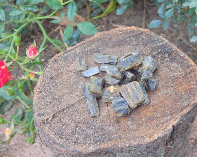 RAW (2) Green Tourmaline Verdelite natural gemstones - Reiki Wicca Pagan Geology gemstone specimen