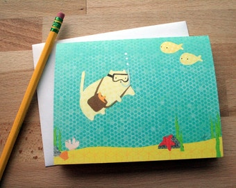 CARD: Scuba Diving Cat - Snorkeling Cat Card - Jacques Chatsteau - Blank Card
