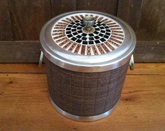 Vintage Brown Kraftware NYC Ice Bucket with Tiled Top