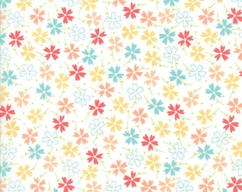 Lulu Lane Pansies fabric in White Multi by Corey Yoder for Moda Fabrics #29023-11