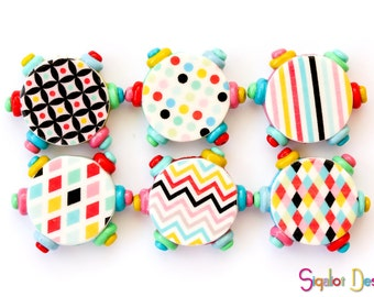 Polymer clay round flat beads - Graphic design beads - colorful graphic beads 20mm (6)