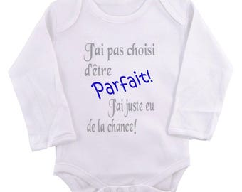 "Funny baby Bodysuit ""I chose not to be perfect"""