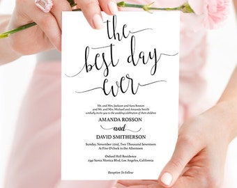 The Best Day Ever Wedding Instant Download - Wedding Invitation - Best Day Ever Sign - Rustic Kraft Wedding PDF Instant Download #WDH0022
