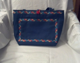 Blue Purse trimmed with Autism Speaks ribbon