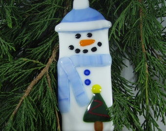 Fused Glass Christmas Ornament - Snowman - Blue and White