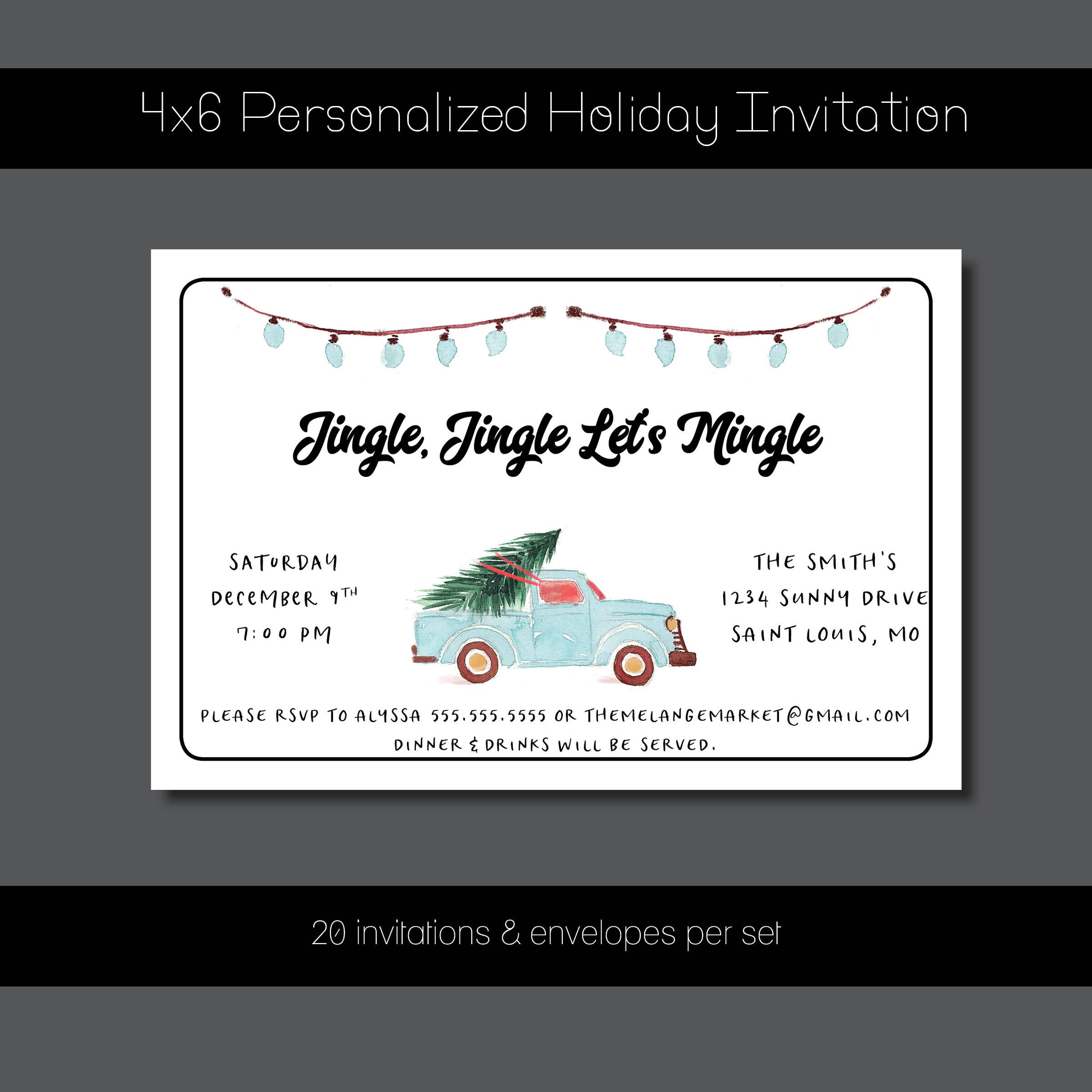 Custom Holiday Party Invitation - Jingle, Jingle Let\'s Mingle ...