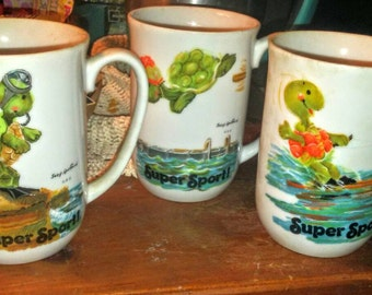 Sale-Set of 4 Suzys Zoo Super Sport Turtle Mugs