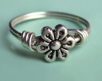 Rustic Sterling Silver Flower Ring