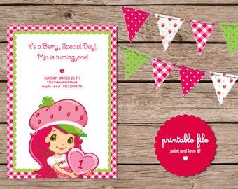 Strawberry Shortcake Birthday Invitation. Printable