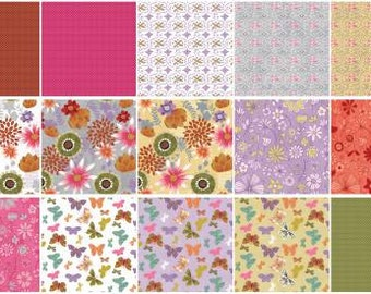 Wild Wonder Fat Quarter Bundle, 15 Pieces, Anne Bollman, Clothworks, Precut Fabric, Quilt Fabric, Cotton Fabric, Butterfly Fabric, Floral