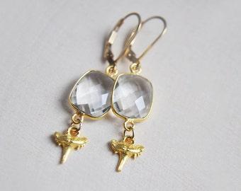 Shark Tooth Earrings, Shark Teeth, Shark Lover, Gifts for Her, Gifts for Mom, Gifts for Coworker, Ocean Lover, 14k gold filled Earrings