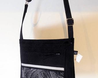 Shoulder bag in black alcantara, cotton fabric Strip, model Sofia, unique, made in France