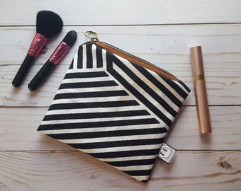 Zipper Pouch - Cosmetic Bag - Travel Makeup Pouch - Notions Pouch - Black and White Stripe Pouch - Pencil Pouch - Cosmetic Bag - Makeup Bag