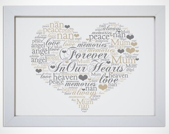 Personalised Forever In Our Hearts In Memory Framed Word Art Sympathy Gift