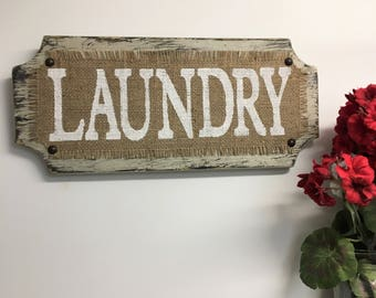 LAUNDRY Room Sign, wood, hanging, wall sign, Vintage, cottage, primitive, rustic,, Beach Style, BURLAP, cottage decor, wash, dry, hang, fold