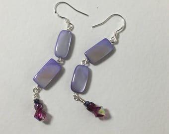 Dainty purple shell link earrings sterling silver