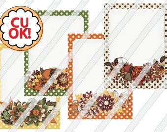 Printable Fall Dots Journaling Cards Digital Collage Sheet (3 inches by 4 inches) - 0071