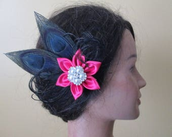 Hot Pink & Black Peacock Fascinator, Peacock Wedding Head Piece, Fuchsia and Black Hair Clip, Wedding or Prom Hair Piece, Gatsby Head Piece