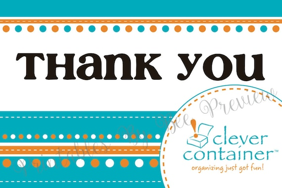 items similar to clever containers thank you card customizable on etsy