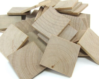 "1-1/4"" Unfinished Wooden Square Tiles (25mm)"