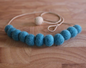 Felt Ball Necklace // Teal