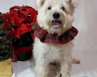 Red Royal Stewart Tartan Plaid Pet Scrunchie Neck Ruffle, Christmas Dog Scrunchie, Cat Ruffle Collar