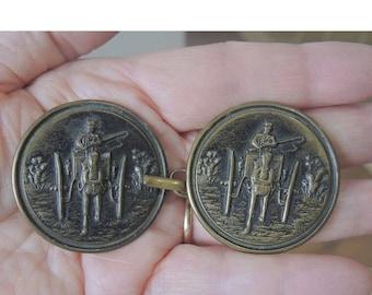 Antique Belt Buckle,  Brass Picture Buttons, 2 piece Button Buckle, Irish Jaunting Car, Albert Button Book Information