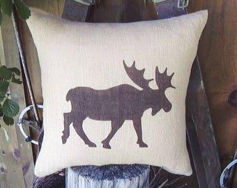 Throw Pillows, Burlap Pillow Covers, Outdoor Pillows, Decorative Pillows, Farmhouse Pillows, Moose Silhouette, Moose Pillow, Rustic Decor