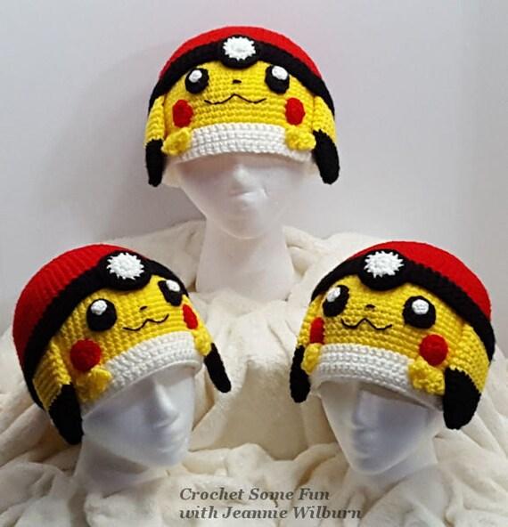 Pikachu Pokeball Inspired Pokemon Hat Crochet Pattern from ...