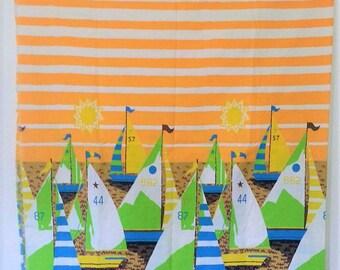 Vintage Sailboat Fabric Yardage Summer Striped