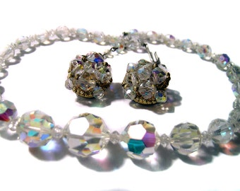 Glass Bead Necklace and Earrings Aurora Borealis Beautiful