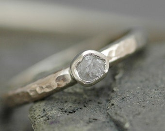Bezel-Set Rough  Diamond Stacker Ring in Recycled 14k White, Rose, or Yellow Gold- Size B Diamonds