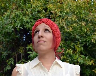 Crochet turban in coral, hairband, headband, headwrap, ear warmer