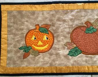 """Fall Halloween Pumpkins Table Runner  38"""" long"""