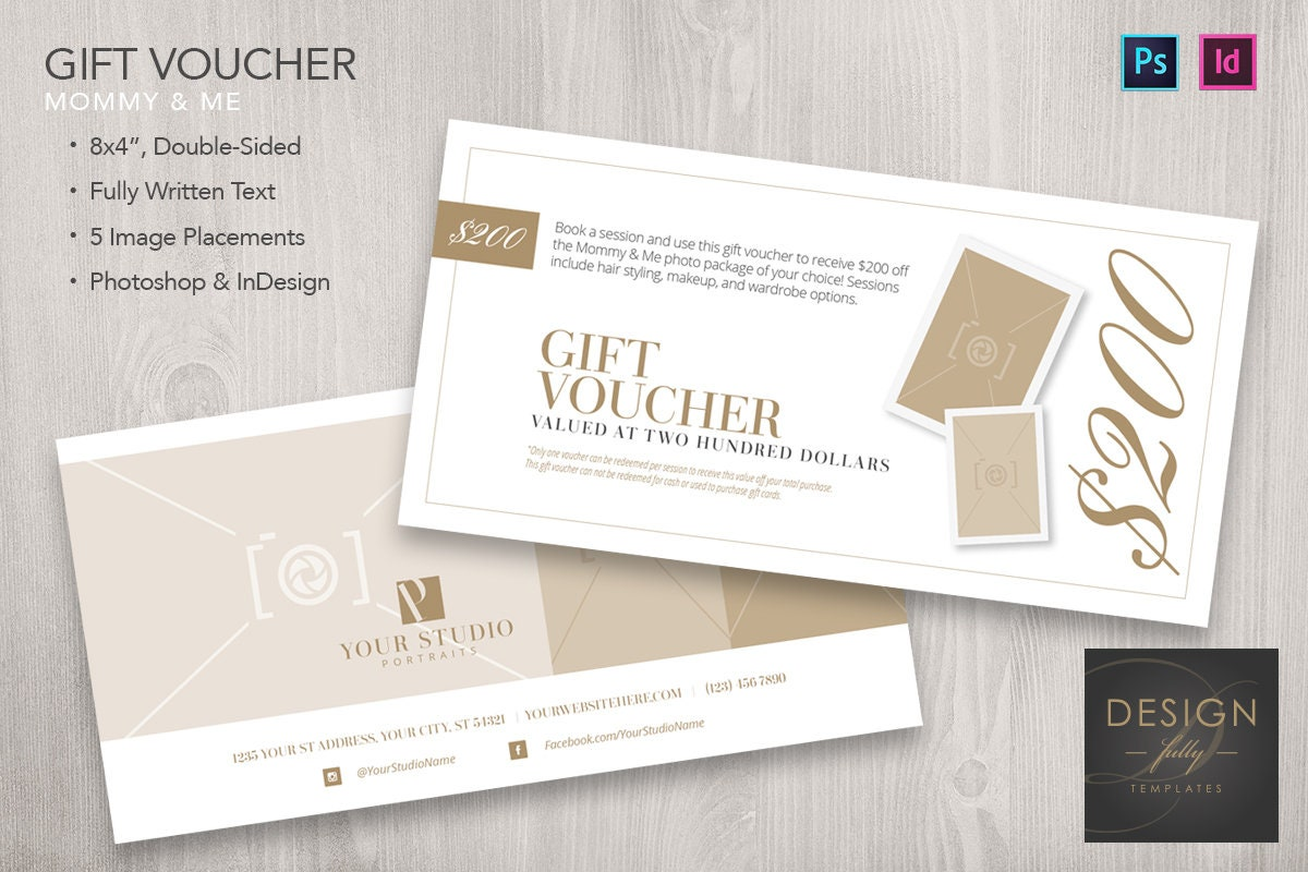 Mommy and me 8x4 gift voucher template for id psd cs4 cc zoom yelopaper Gallery