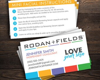 """Rodan and Fields Mini Facial Instructions Business Cards (PRINTED), R+F Consultant - 2"""" x 3.5"""", Custom Info, FREE SHIP"""