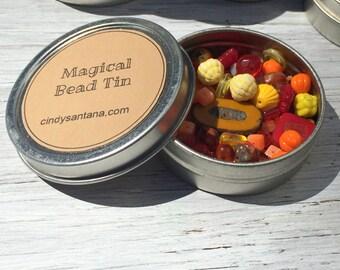 Orange and Yellow Glass Bead Mix, 2.5 inch aluminum tin 2 ounces