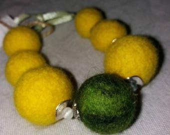Bright wool Felted Bracelet Natural stones Winter gift for her Boho jewelry Felt balls Big Merino pom pom Xmas jewelry Satin ribbon Girls