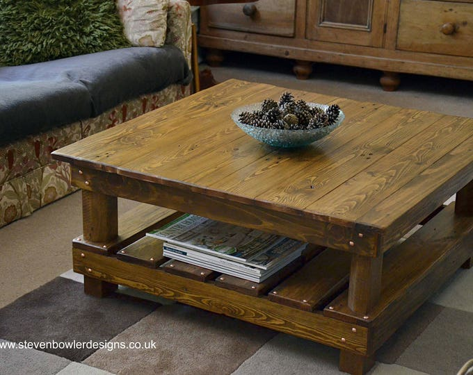 FREE UK SHIPPING Bespoke Country Cottage Reclaimed Wood Rustic Coffee Table Medium Oak Stain Undershelf Storage & Decorative Copper Tacks