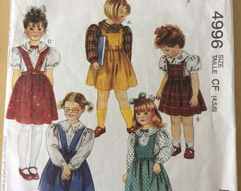 McCall's #4996 - Sizes 4,5,6 Children's Jumpers and Blouse Pattern