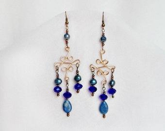 Victorian Chandelier Earrings Blue, Lapis Lazuli, Pearl Earrings, Crystal Earrings, Victorian Jewelry, Filigree Earrings, Gift For Her, VFB1