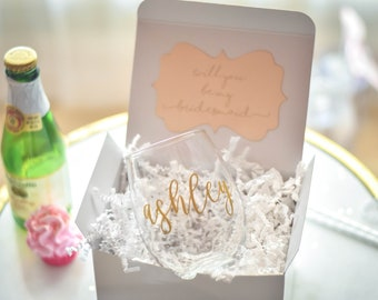 Will you be my Bridesmaid Gift - Bridesmaid Proposal - Personalized Stemless Wine Glass - Maid of Honor Proposal (BR053) PB01