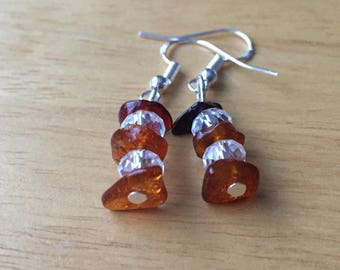 Natural Baltic amber crystal glass earrings