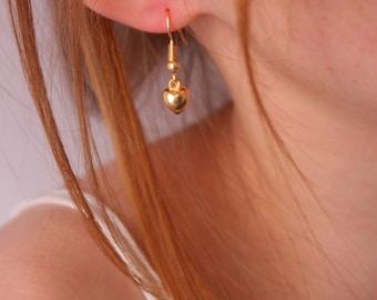 Tiny heart earrings, heart earrings, gold heart earrings
