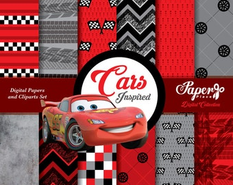 Cars movie Digital Scrapbook Paper and Cliparts set, red gray white Digital Paper, Patterns, Chevron, Stripes, steel, race, flags