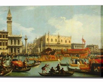 Canaletto Canvas Print Venice Bucentaur's Return Palazzo Ducale Wall Art Print Home Decor Ready to Hang