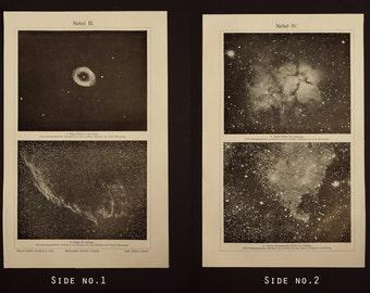 1905 - Nebulas, an original antique print from 1905, a lithography representing nebulas.