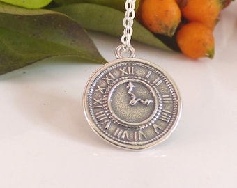 Time Necklace, Watch Necklace, Silver Clock Necklace, Charm Necklace, Silver Necklace, Statement Necklace,