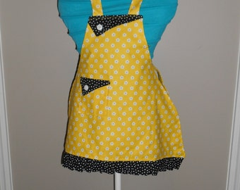 Yellow Flowers with Black and White Polka Dots Girl's Apron