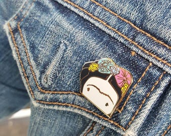 Frida MayLo Studio Enamel pin pinback hatpin jean jacket lapel brass frida kahlo accessories